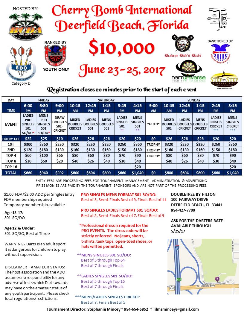 Broward County Darts - Cherry Bomb Tournament